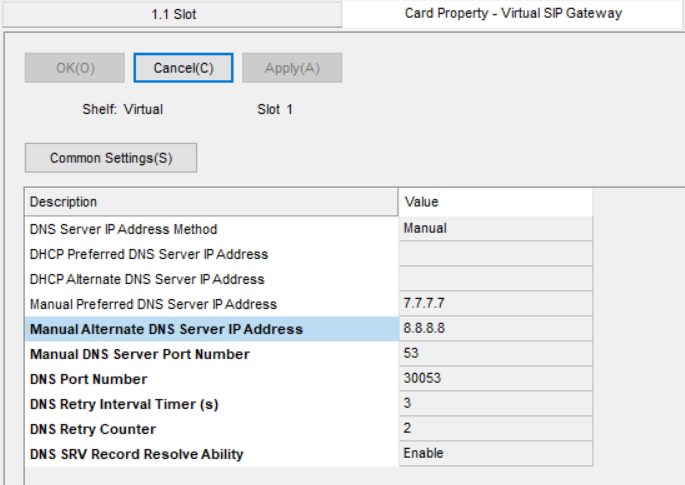 Screenshot - Panasonic Card Property Virtual SIP Gateway