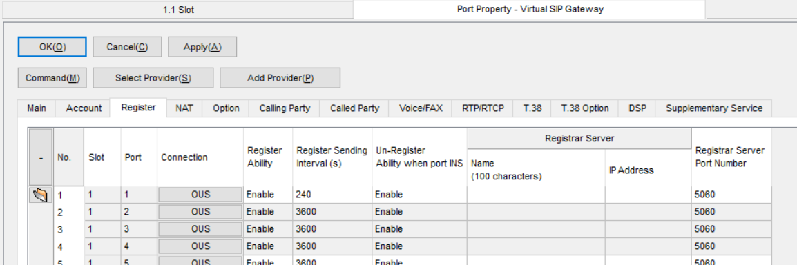 Screenshot - Panasonic Port Property Virtual SIP Gateway Register Tab