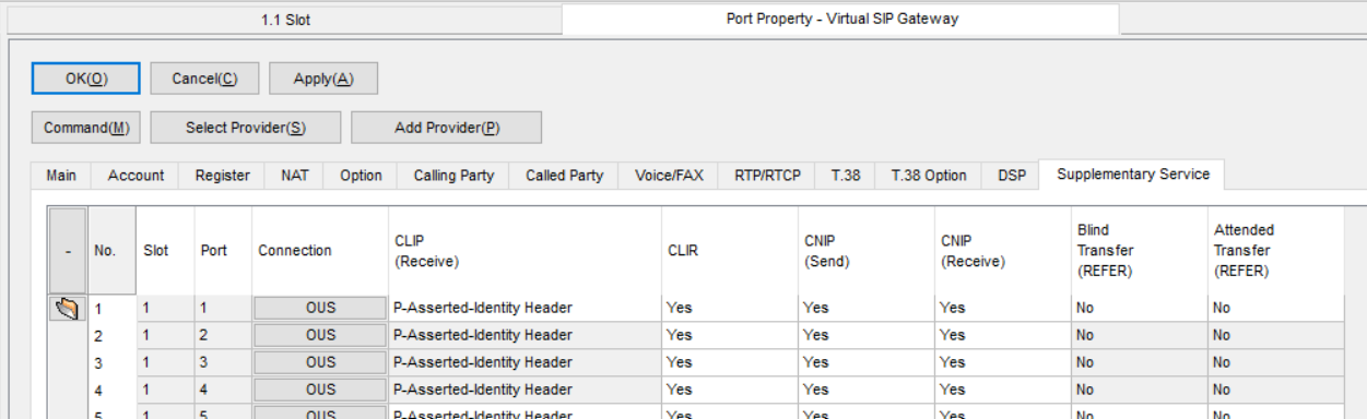 Screenshot - Panasonic Port Property Virtual SIP Gateway Calling Supplementary Service Tab