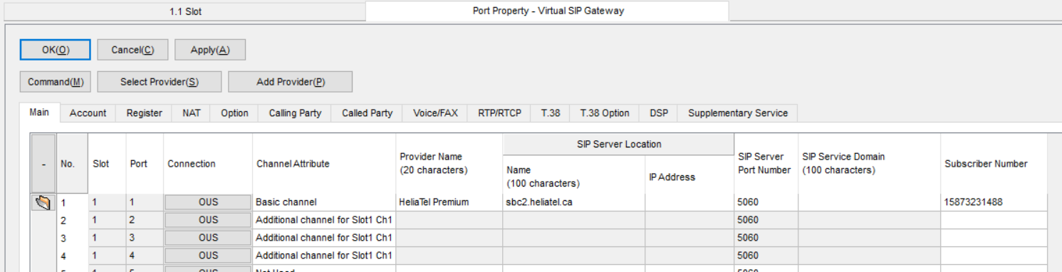 Screenshot - Panasonic Port Property Virtual SIP Gateway Calling Main Tab